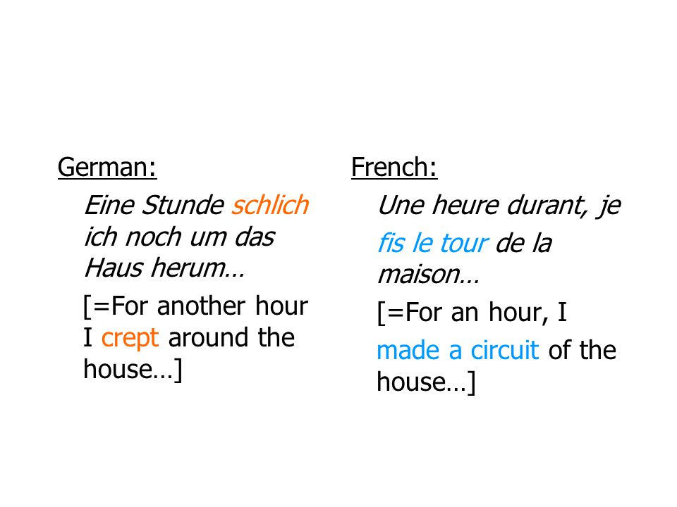 German: Eine Stunde schlich ich noch um das Haus herum… [=For another hour I crept around the house…]